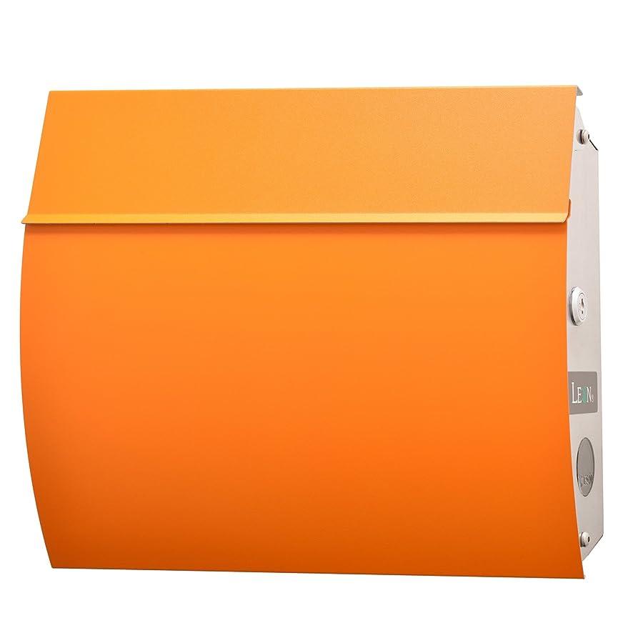 分散無駄な見えないLEON (レオン) MB4801 郵便ポスト 壁掛けタイプ ステンレス製 鍵付き おしゃれ 大型 ポスト 郵便受け (マグネット付き) (MAIL BOXシート無し) オレンジ