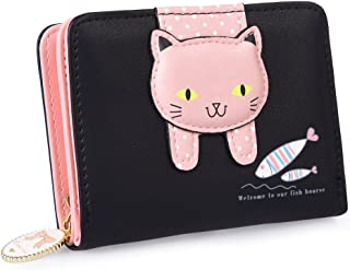 Vbiger Girls Wallet Cute Cat Wallet Kitty Pattern Purse Coin Holder