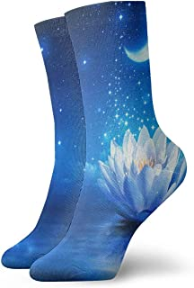 iuitt7rtree Calcetines Deportivos Blue Moon Water Lily o Lotus Athletic Calcetines Unique Anti Bacterial Odor Cushion Shor...