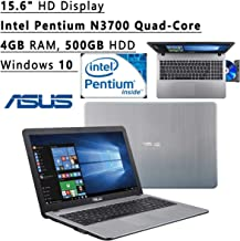Asus Vivo Book Flagship High Performance 15.6 inch (1366 x 768) HD Laptop PC | Intel Pentium N3700 Quad-Core | 1.60 GHz | 4GB RAM | 500GB HDD Windows 10 | Silver (Renewed)