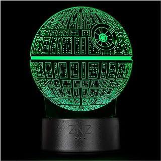 Lámpara 3D de Star Wars, luz Nocturna de Ilusión LED ZNZ, 16 Colores de 3 Modelos con Táctil Inteligente y Remota - Regalos de Para Niños, Hombres, Navidad y Fanáticos de Star Wars (Death Star)