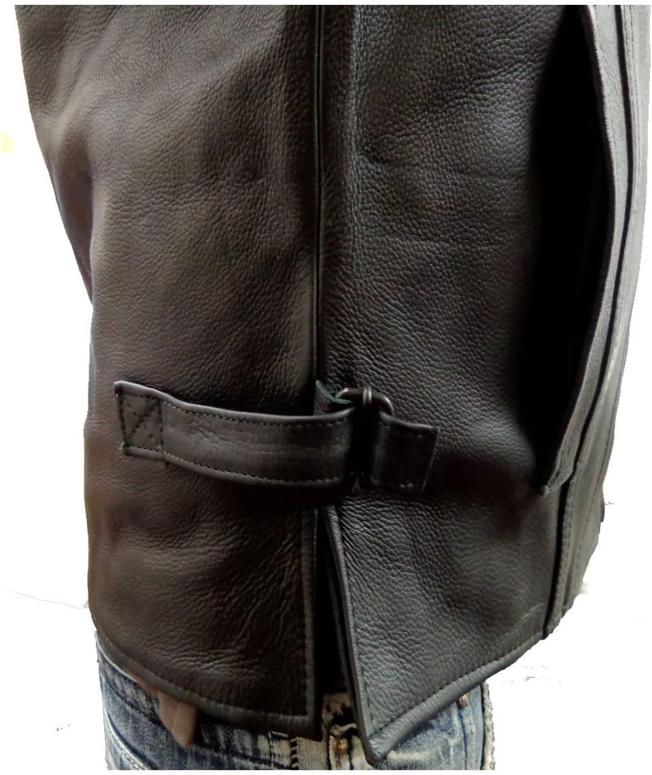 MEN'S MOTORCYCLE SON OF ANARCHY STYLE CLUB LEATHER VEST 2 GUN POCKETS BLACK NEW (L Regular)