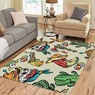 Semtomn Area Rug 5' X 7' Wild West Old School Tattoo Classic Flash Patches Home Decor Collection Floor Rugs Carpet for Living Room Bedroom Dining Room