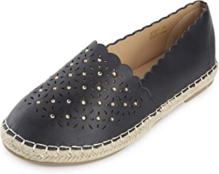 Kentti Women's Closed Toe Floral Hollow Out Slip on Flat Espadrilles