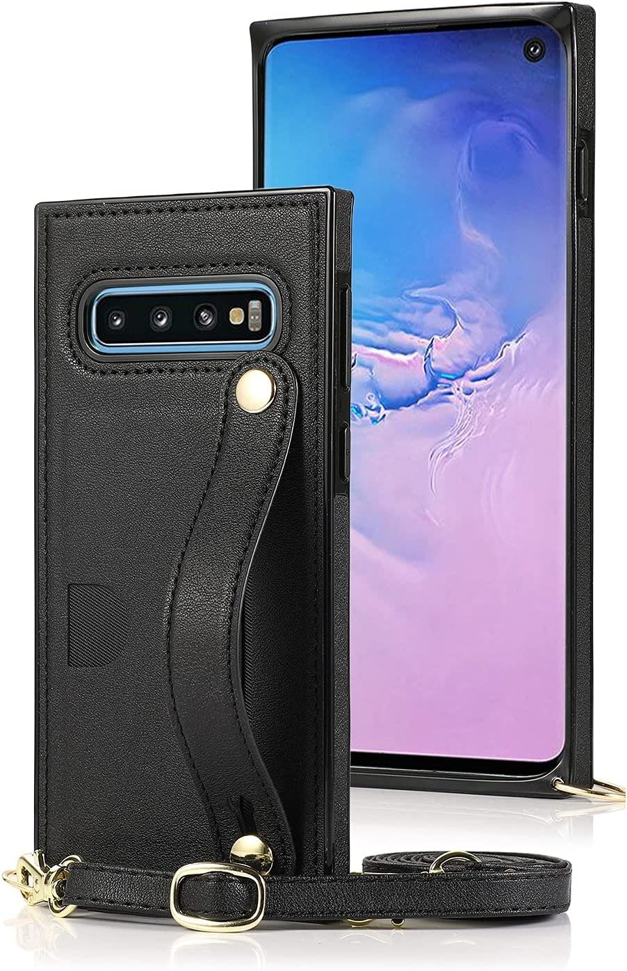 Case for Samsung Galaxy S10E, Leather Case with Credit Card Slot Non-Slip Buckle Holder/Crossbody Long Lanyard, Shockproof Leather TPU Case Cover for Samsung Galaxy S10E (Color : Black)