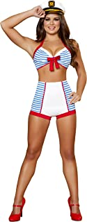 3 Piece Playful Pinup Sailor Costume, White/Blue, Small/Medium