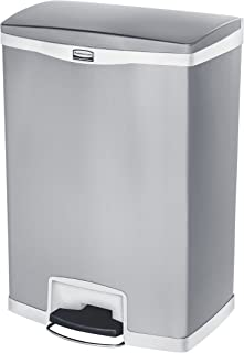 Rubbermaid Commercial Slim Jim Stainless Steel Front Step-On Wastebasket, 24-gallon, White (1902004)