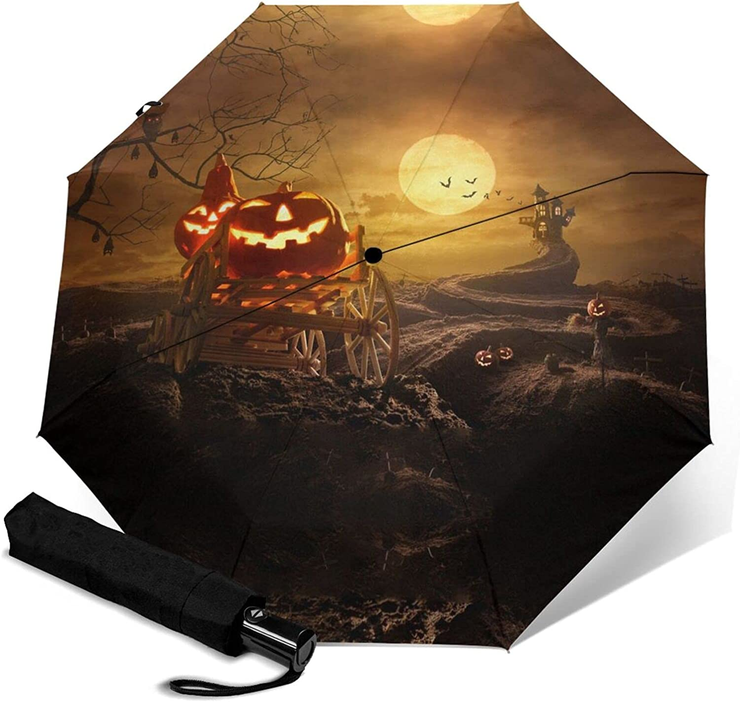 Halloween Pumpkin Print Automatic Special sale item Clearance SALE! Limited time! Waterp Umbrella Three-Folding