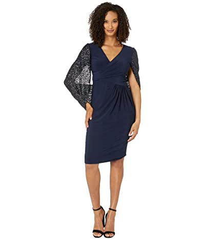 Adrianna Papell Draped Jersey Cocktail Dress (Midnight) Women