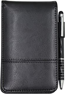 Small Pocket PU Leather Business Notebook Cover Jotter Multifunction A7 Mini Notepad,30 Pages Note Paper, 0.7 Metal Rotating Pen,and Pen Holder (Black)
