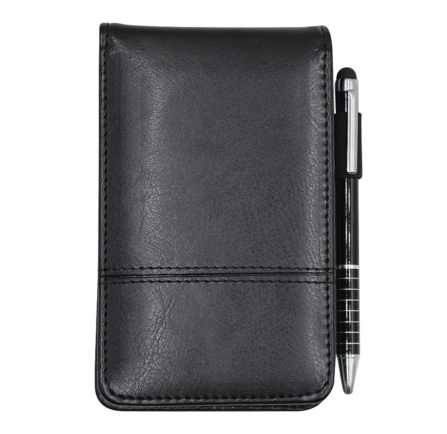 葉を集めるあまりにも導出小さなポケットPUレザービジネスノートブックカバーJotter多機能a7ミニメモ帳8デジタル電卓、30ページwith Note用紙、0.7メタル回転ペン、とペンホルダー