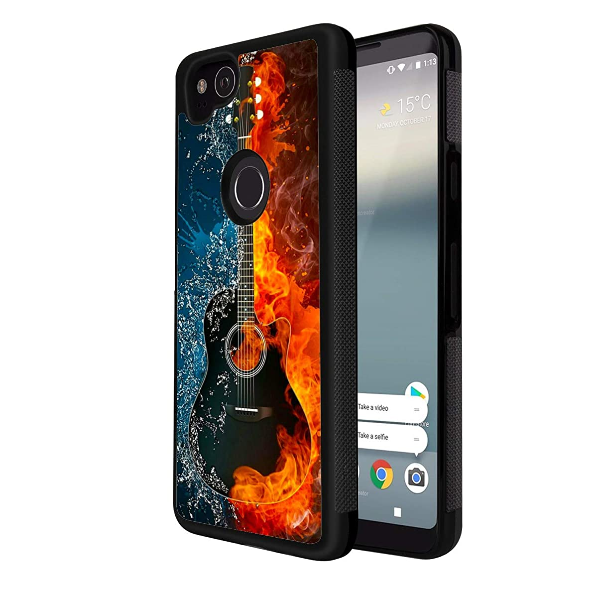 Google Pixel 2 Case Guitar on Fire Water Shock Absorption Shockproof Design Black TPU Case Protective Case