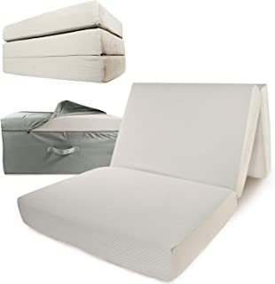 Portable Mattress - Folding Memory Foam Guest Fold Up Bed w/Case | Tri-Fold (6 Inch) Travel Away Floor, Futon & Camp Cot Topper for Fast Trifold Foldable (Fold-Up & Fold-Out) Sleep Comfort (Twin)