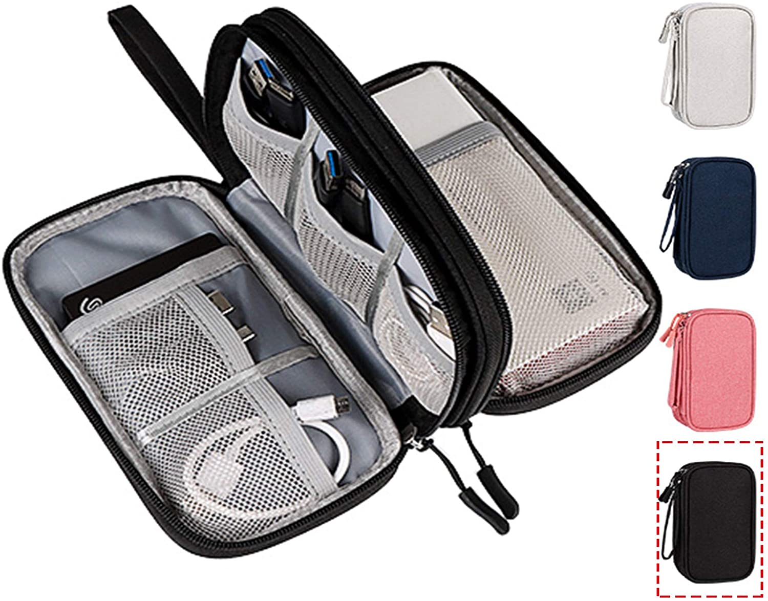 CAOODKDK Electronics Accessories Organizer Pouch Bag, Electronic Organizer Travel Universal Cable Organizer Electronics Accessories Bag for Cable, Charger, Phone, SD Card, Business Travel Gadget Bag