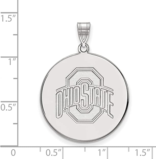 White Sterling Silver Charm Pendant Ohio NCAA State University 25 mm 26