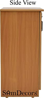SamDecors Engineered Wood Two Door Cabinet/Shoe Rack with Four Compartments (Colour - Beige)
