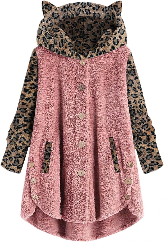 Winter Women's Fleece Hoodies Sweatshirts Long Sleeves Shaggy Pullovers Cat Ear Plus Size Warm Jacket Coat Tops
