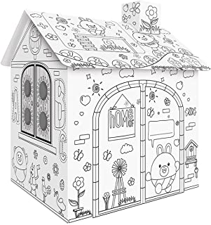 Beauenty Cardboard DIY Playhouse for Kids to Coloring Creative Crafts Paint Educational Toys Gift for kids (House)
