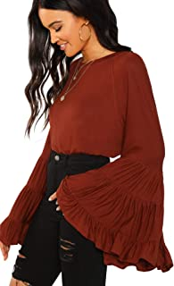 Women's Causal Crew Neck Ruffle Bell Sleeve Solid Blouse Top