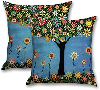 INSHERE Throw Pillow Covers Cotton Linen Decorative Cushion Cases, Cozy Cushion Cover, Home Decor, Pack of 4, 18 X 18 Inches (2pcs Bird and Tree 2)