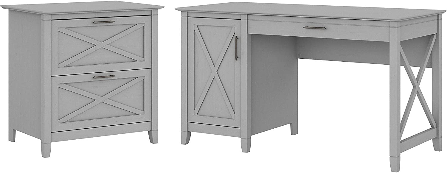 Bush Furniture Key West Computer Desk with Storage and 2 Drawer Lateral File Cabinet, 54W, Cape Cod Gray