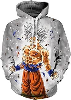 Neutral Long Sleeve 3D Printed Cartoon Dragon Ball Series Pullover Hooded Sweater Coat