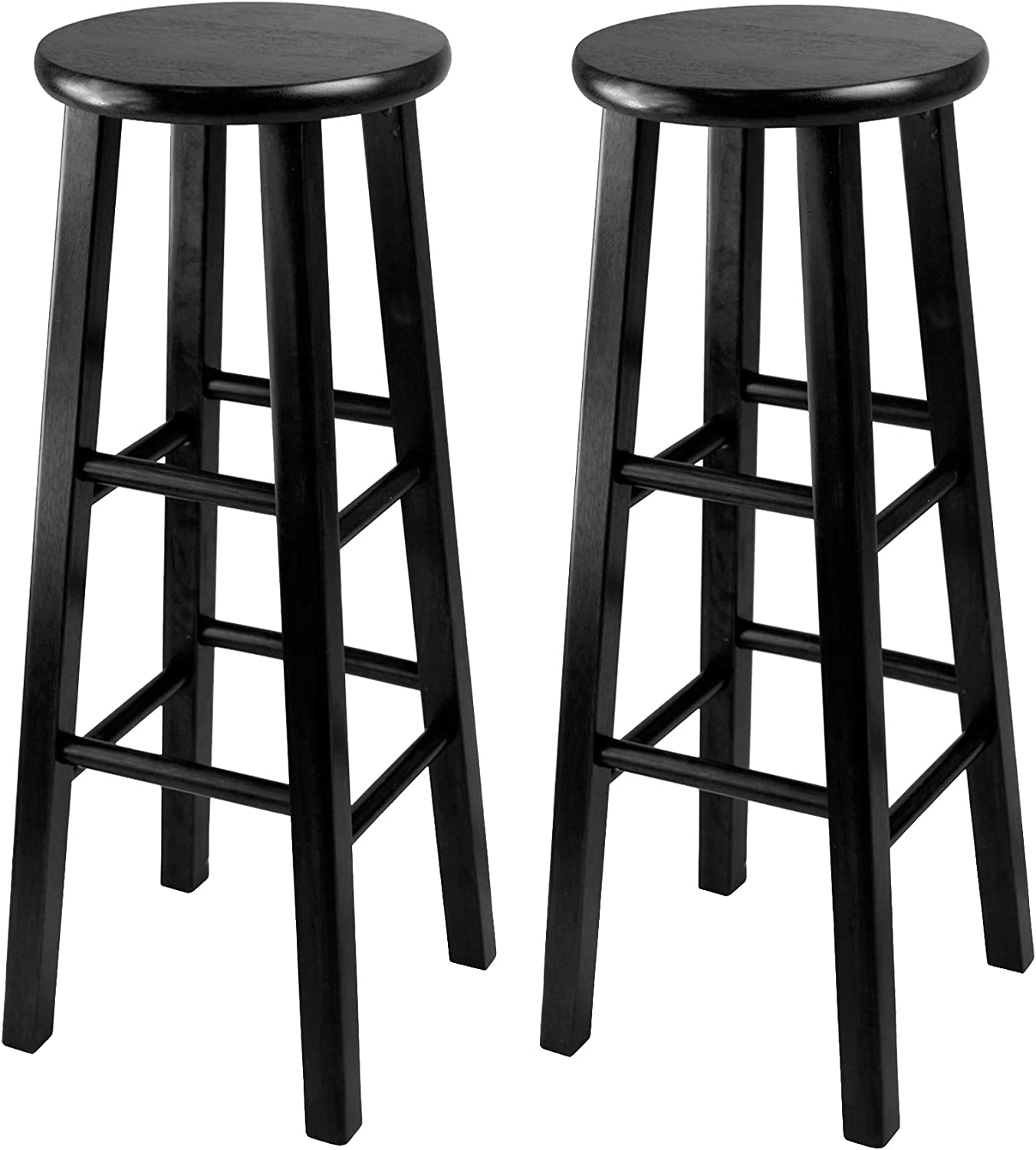 Winsome Wood 29-Inch Square Leg Bar Stool, Black, Set of 2