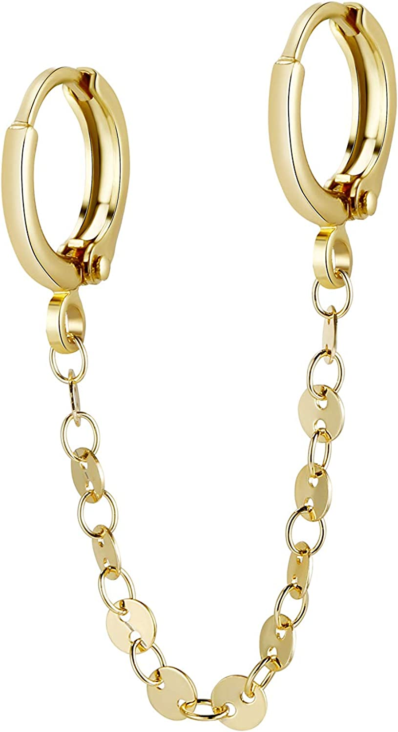 CHESKY 14K Gold Plated Zirconia Earrings Fashion Hoop Pi Double Handcuff Popularity