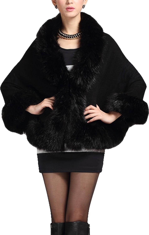 Women Ladies Girls Cape Coat Faux Fur Knitwear Pounch Cloak Shawl