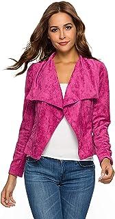 Escalier Womens Suede Leather Jacket Open Front Lapel Cardigan Blazer Jackets