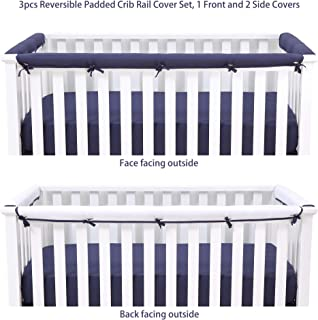Belsden Microfiber Reversible Crib Rail Cover 3 Piece Set for 1 Long and 2 Side Rails, Durable Padded Baby Teething Guard and Chewing Protector, Measuring up to 8 inches Around, Navy and White Color