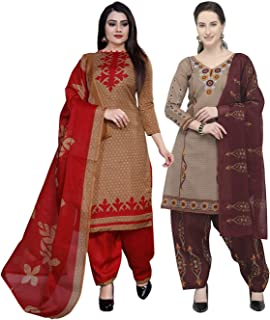 Rajnandini Women's Light Brown And Beige Cotton Printed Unstitched Salwar Suit Material (Combo Of 2) (Free Size)