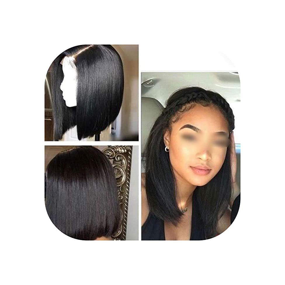 13X6 Bob Short Human Hair Wigs Straight Lace Front Wig Bleached Knots Brazilian Remy Lace Front Human Hair Wigs For Black Women,13X6 Bob Wig,10Inches,150%