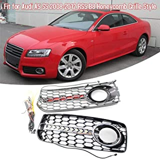 VISLONE Car Front Grilles Bumper Fog Light L & R Lower Side Honeycomb with DRL Grille Fit for Audi A5 S5 2 Door Coupe 2008-2012 RS5 B8 (A5 S5 2 Door B8 honeycomb)