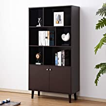 Soges Premuim Modern Display Storage Cabinet 67.4 inches High Free Standing Bookshelf Wood Home Office Cabinet, Espresso HHGZ006-CF