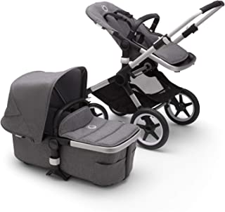 Bugaboo Fox 2 Kinderwagen – Zusammenklappbarer Babywagen mit vielfältigen Fächern & Guckloch im Sonnenverdeck – Von der Geburt bis zum Kleinkindalter – in Grey Melange
