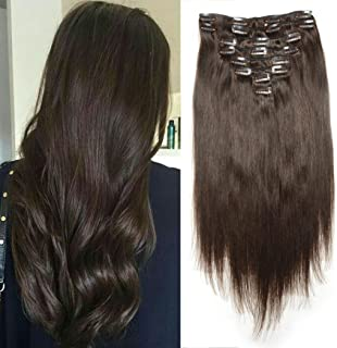 Luwigs #2 Dark Brown Clip in Human Hair Extension Silky Straight 14 inches 120G/Set Full Head Remy Clip in Extensions for Women 8Pcs
