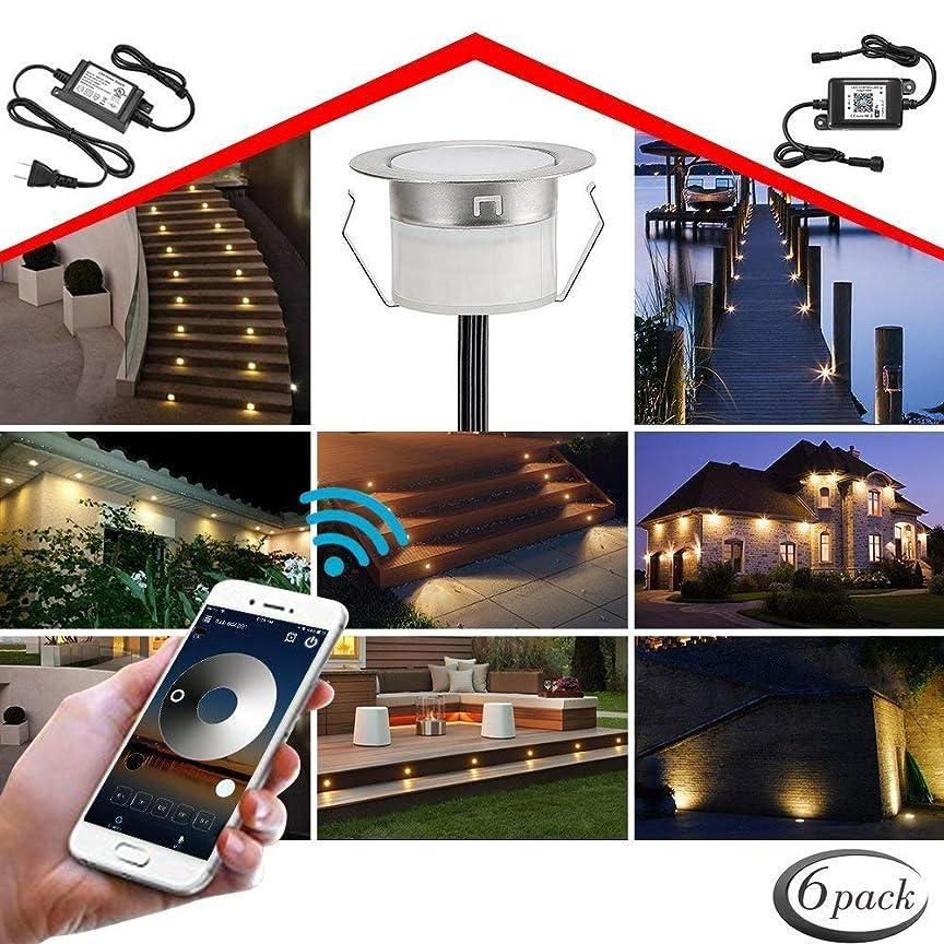 このほとんどない着陸地中埋込型ライト FVTLED スポットライト DC12V 1W φ45mm IP67防水 WIFI制御 ガーデンライト 屋外照明 簡単に取り付け 自由に組み合わせる CE RoHS認証 LED 照明 アウトドアライト (6pcs, ウォームホワイト)
