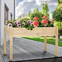 KINGSO Raised Garden Bed Elevated Wood Planter Box Outdoor Raised Wooden Planter Garden Grow Box Kit with Legs for Vegetab...