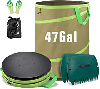 Colwelt 47 Gallon Leaf Bags Collapsible, Hardshell Bottom Heavy Duty Collapsible Garden Bag, Pop up Garden Waste Reusable ...
