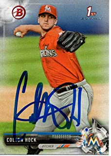 Colton Hock Miami Marlins 2017 Bowman Draft Rookie Signed Card
