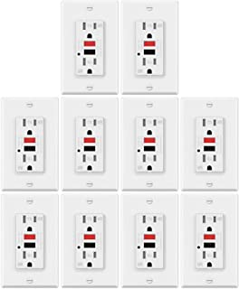 10 Pack - ELECTECK 15A Weather Resistant GFCI Outlets, Tamper Resistant GFI Receptacles with LED Indicator, Decor Wall Plates and Screws Included, Residential and Commercial, ETL Certified, White