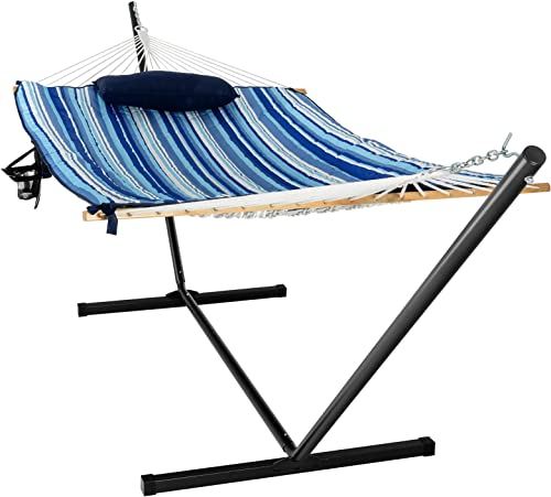 new arrival Giantex 12Ft Hammock with Stand, 2 Person Heavy-Duty Steel lowest Hammock Stand, 450 lbs Capacity, Double Hammock Bed with Cotton Mat, Pillow, new arrival Cup Holder and Bag (Blue and Beige Striped) online sale