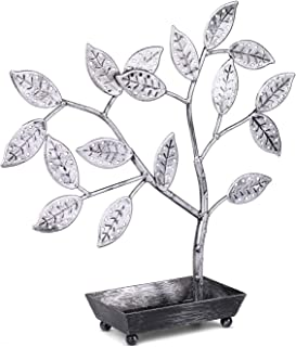 Flexzion Jewelry Display Tree Stand, Earring Necklace Holder Rack Organizer Tower Table Top Decor - Ideal for Bangles Pendants Anklet (Silver)