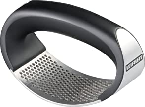 Leifheit Stainless Steel Rocking Garlic Press, Black and Silver
