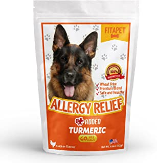 Fitapet Allergy Relief for Itchy Dogs - with Turmeric, Omega-3, Quercetin and Bromelain - 60 Soft Chews