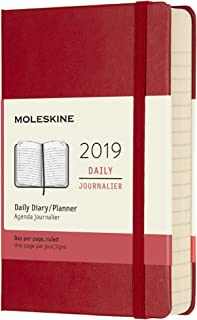 Moleskine 2019 12M Daily, Pocket, Daily, Red Scarlet, Hard Cover (3.5 x 5.5)