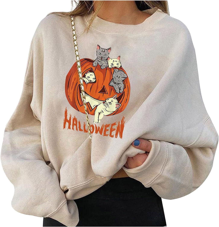 Jaqqra Halloween Sweatshirts for Women Cat Pumpkin Sweater Halloween Skull Long Sleeve Pullover Tops Lightweight Shirt