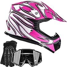 Typhoon Youth Kids Offroad Gear Combo Helmet Gloves Goggles DOT Motocross ATV Dirt Bike Motorcycle Pink Black - Small