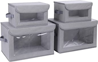 DIMJ Storage Bins with Lids, 4 Pack Fabric Storage Baskets with Handle Collapsible Organizer Closet Storage Box with Clear...